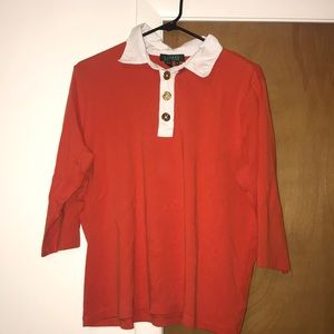 Ralph Lauren red/orange polo top